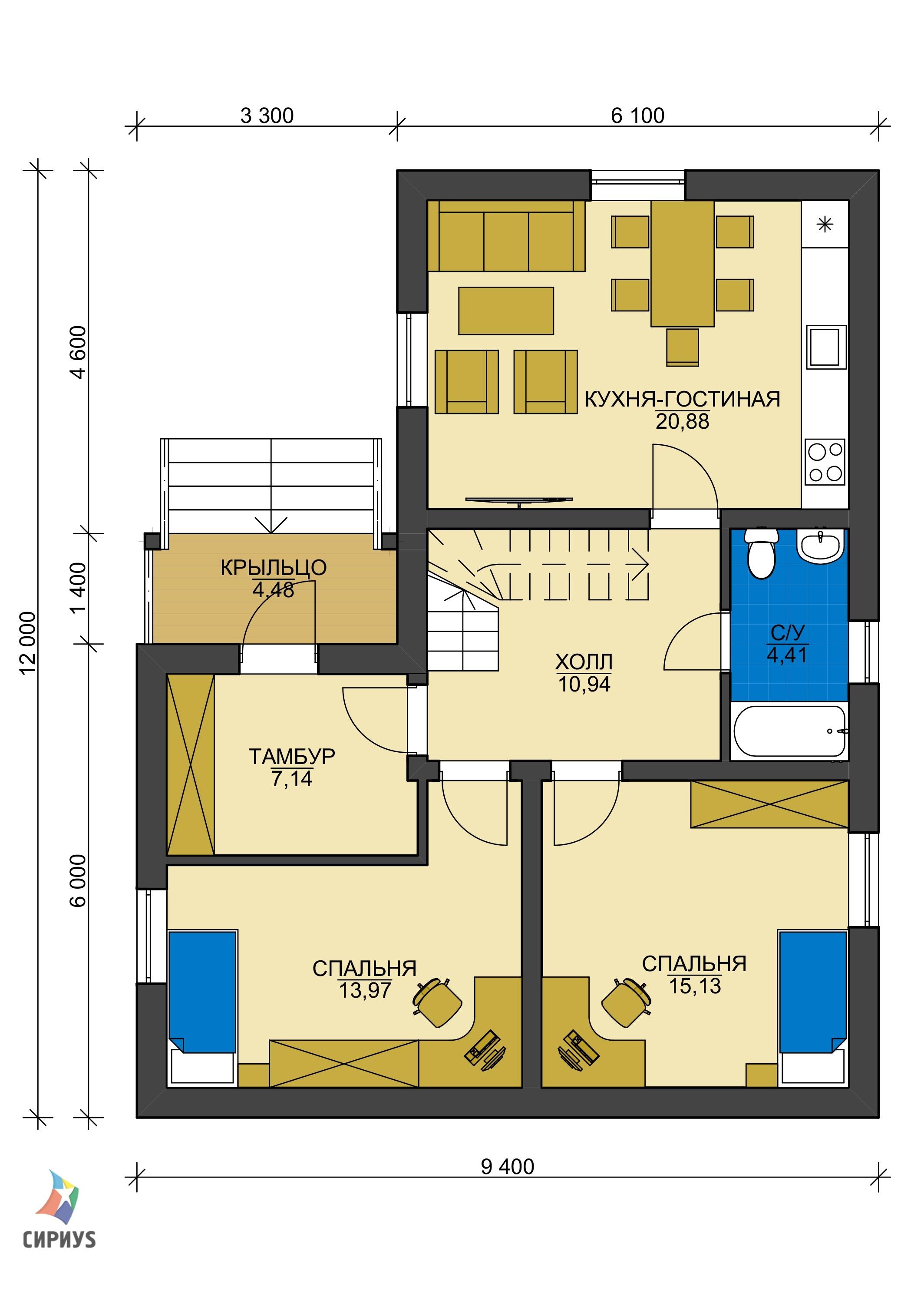 Дом из блоков БСУ-ДБ 8